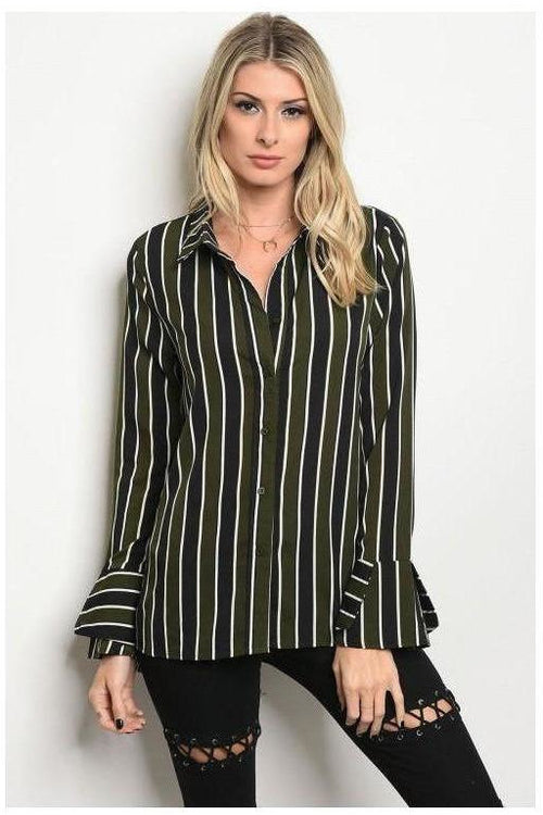 Striped Button Up Olive and Black Top