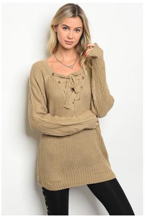 Lace Up Front Oversized Knit Sweater
