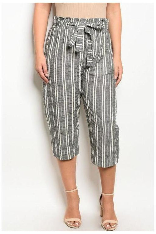 Gray Striped Gaucho Pants, Plus