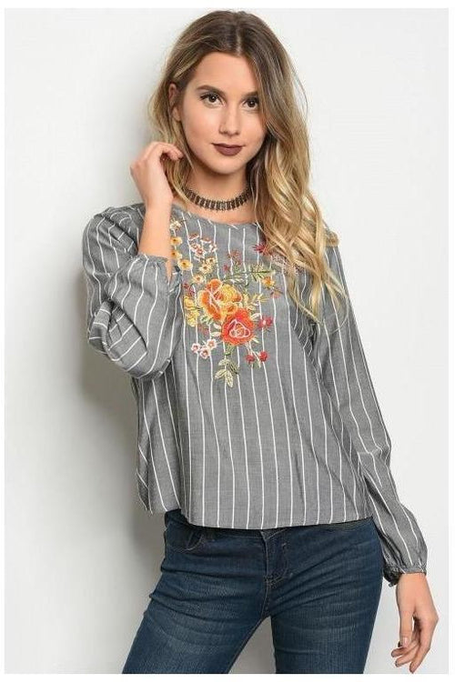 Gray And White Chambray Embroidered Top