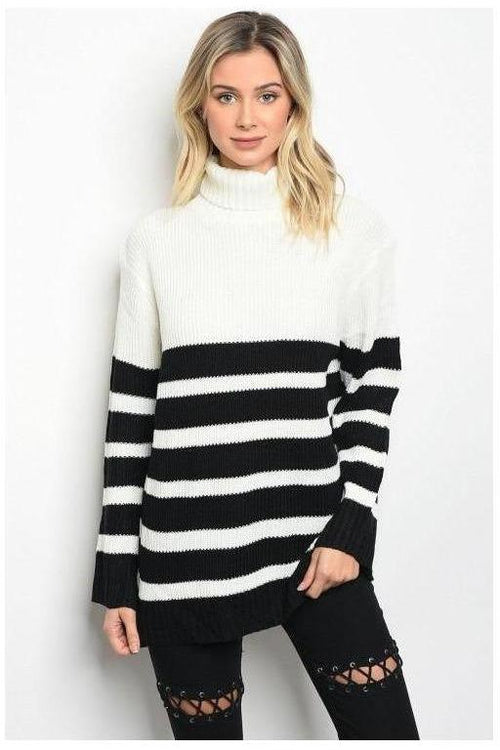 Long Sleeve Oversized Black And White Sweater