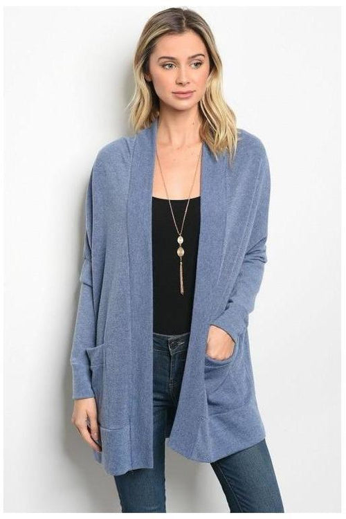 Over-sized Cardigan Dusty Denim