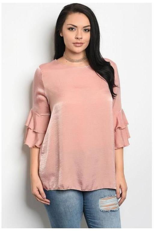 Sassy Satin Flutter Sleeve Top, Plus
