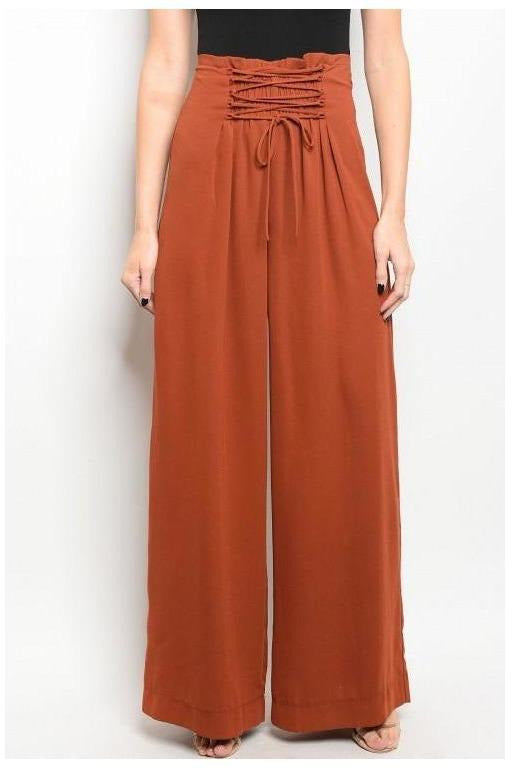 High Waisted Palazzo Pants, Rust
