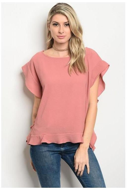 Ruffle Ruffle Pop Of Color Blouse
