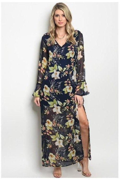 Floral Bell Sleeve Maxi Dress