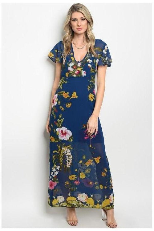 Tropical Paradise Navy Floral Maxi