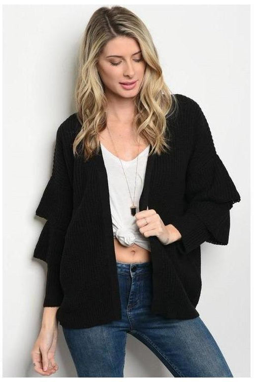 Dreamy Ruffle Sleeve Cardigan, Black