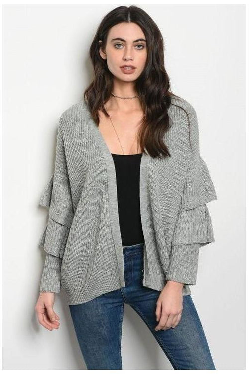 Dreamy Ruffle Sleeve Cardigan, Gray