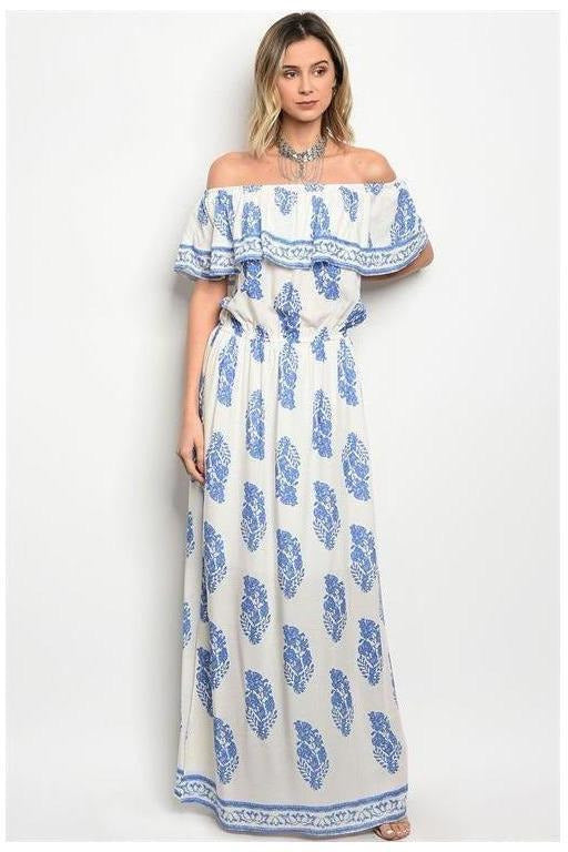 Island Queen Off Shoulder Maxi Dress, Blue/White