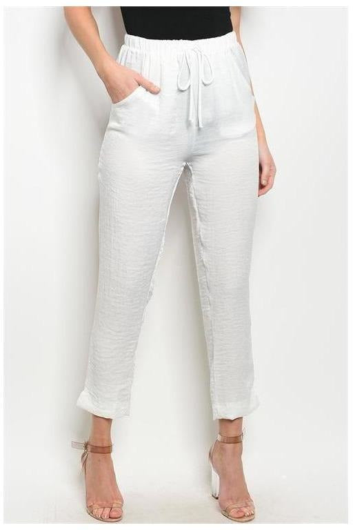 White  Drawstring Ankle Length Trousers