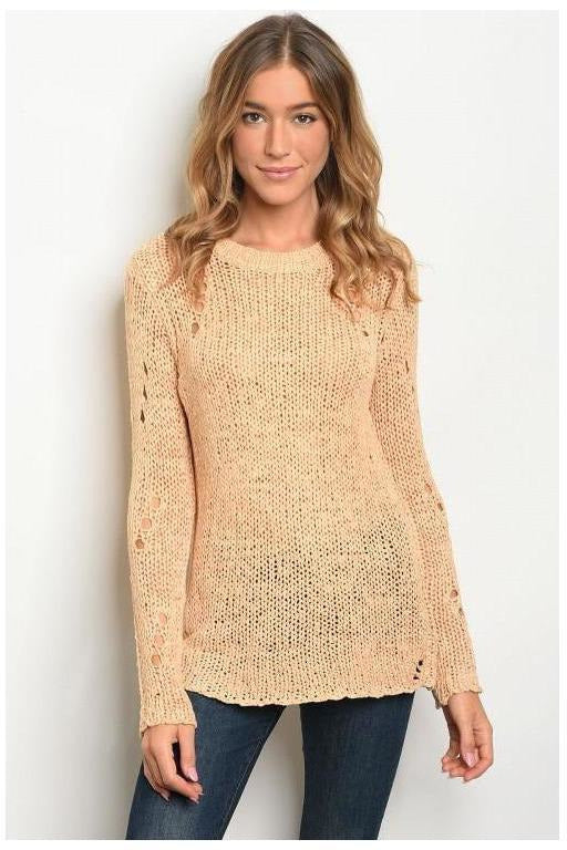 Distressed Mess Apricot Sweater