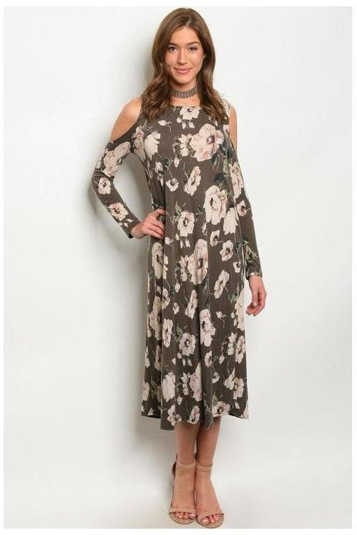 """This Is It"" Long Sleeve Cold Shoulder Floral Print Dress"