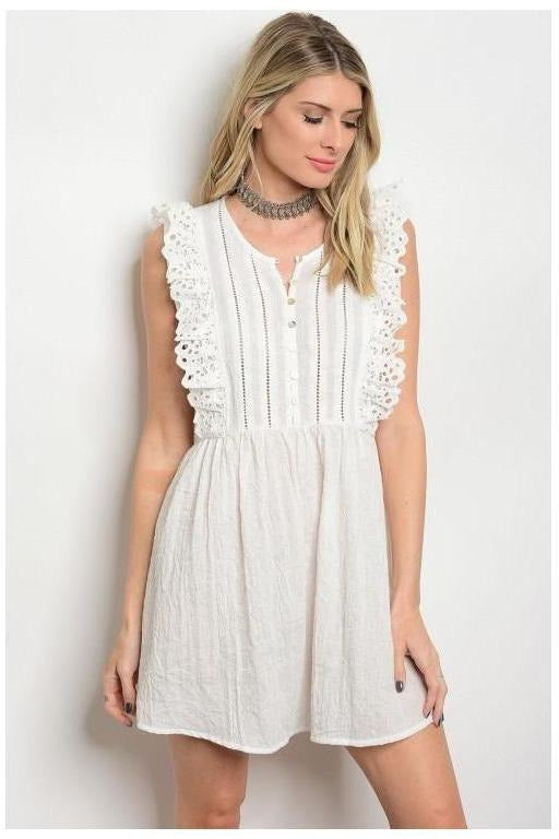 Sweet Daisy Eyelet Trim Dress