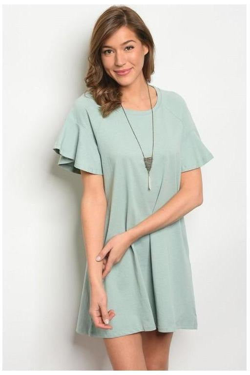 Side Pocket Ruffle Sleeve T-Shirt Dress