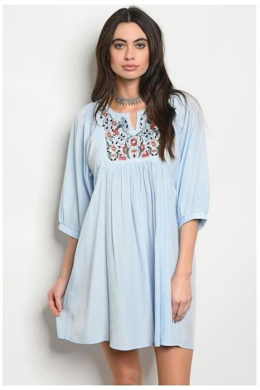 Embroidered Bella Dusty Blue Shift Dress