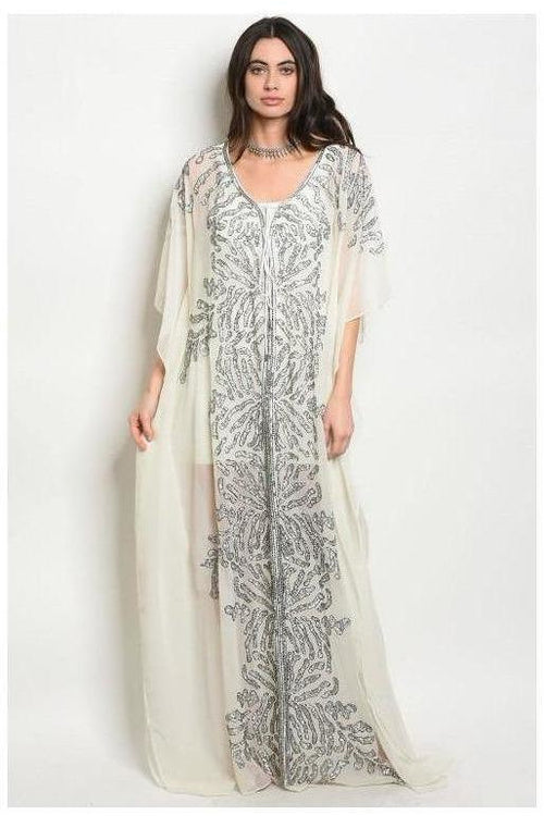 Coastal Shimmer, Sequin Trim Kaftan Coverup Dress