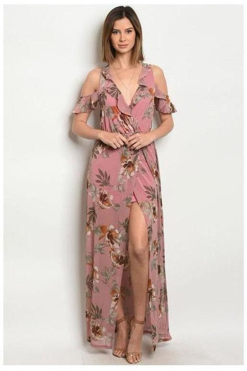 Everlasting Bloom, Mauve Floral Print Maxi Dress
