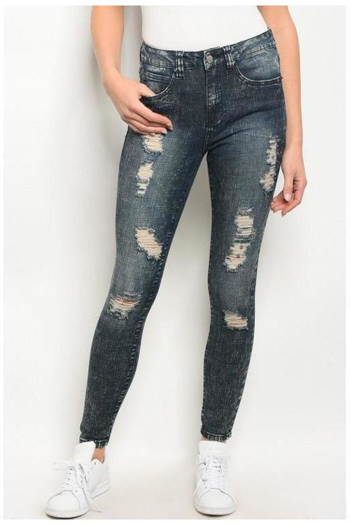 Denim Meets Distressed, Distressed Skinny Jeans - RMC Boutique