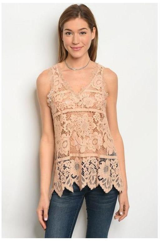 Sleeveless V-neck Lace Crochet Blouse