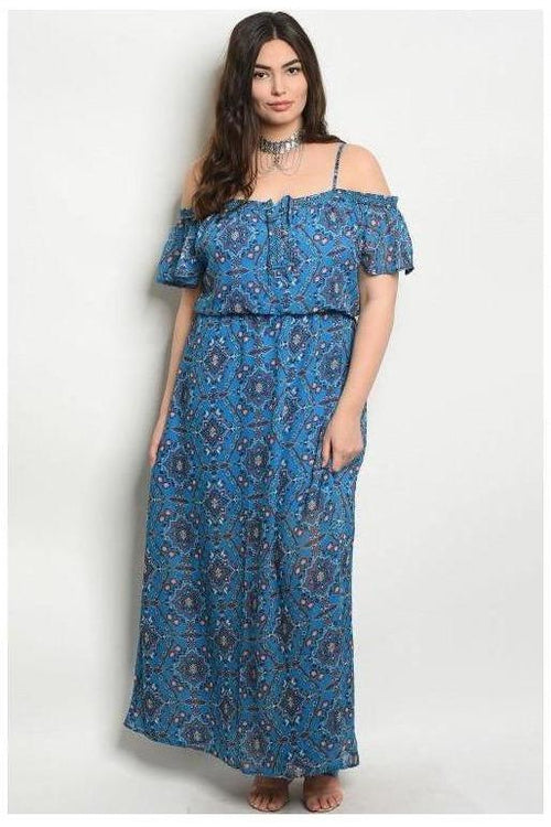 Off Shoulder Paisley Maxi Dress, Blue