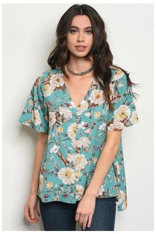 Dusty Teal Botanical Button Up Top