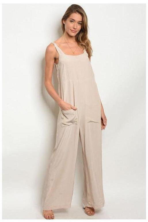 Solid Taupe  Jumpsuit With Front Pockets