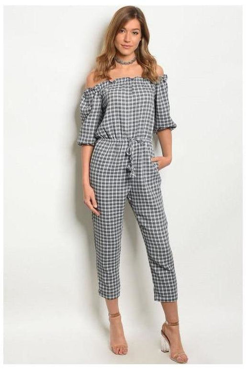 Gingham Off Shoulder Gray And White Romper