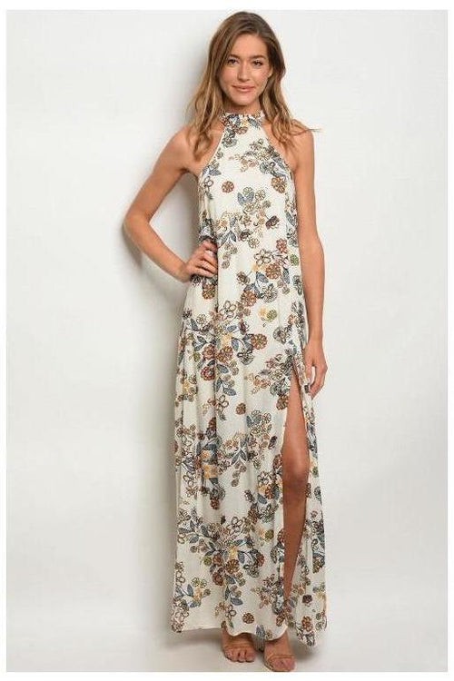 Halter Style Side Slit Maxi Dress, Floral Maxi Dress
