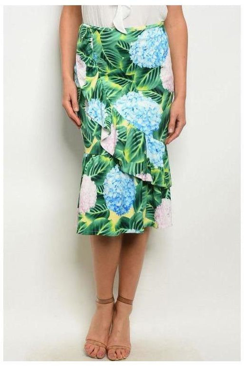 Only In The Tropics, Palm Printed Ruffle Skirt