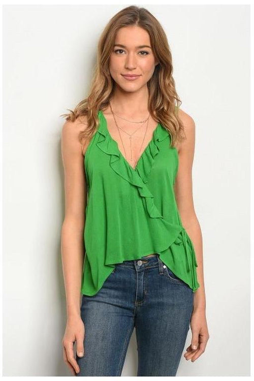 Sleeveless Green Ruffle Trim Top