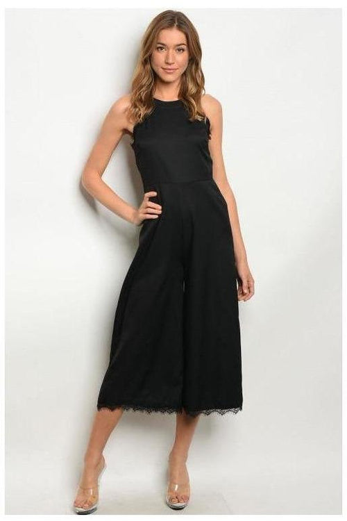 Lace Trim Black Formal Jumpsuit