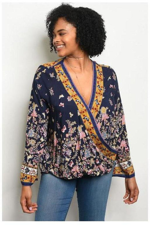 Botanical Floral Wrap Bell Sleeve Tunic, Plus
