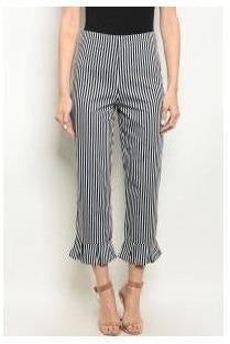 Striped Ruffle Edge Cuffed Trousers