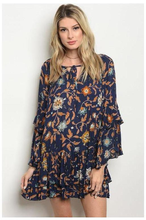 Double Bell Sleeve Paisley Navy And Orange Dress