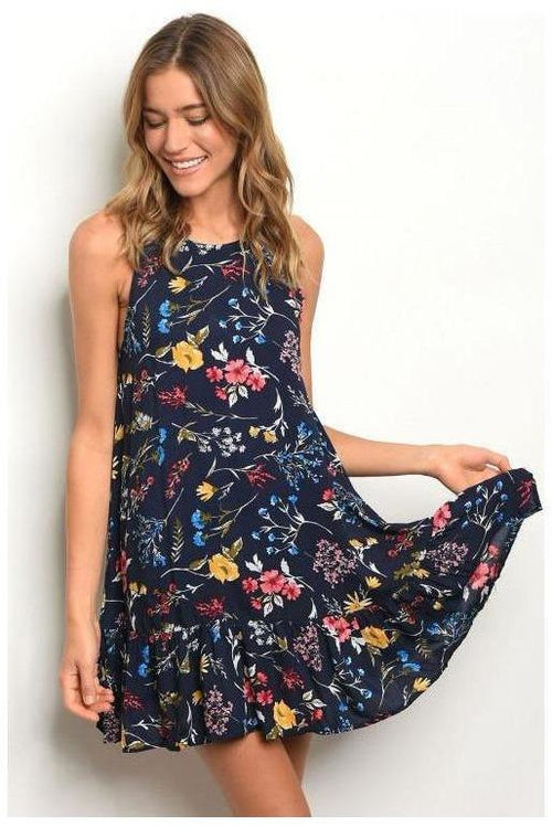 Sleeveless Scoop Neck Navy Floral Shift Dress