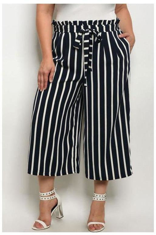 Navy And White Striped Wide Leg Gaucho Pants