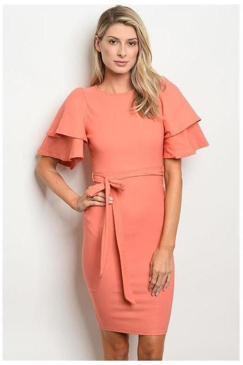 Ruffle Sleeve Cocktail Dress - RMC Boutique