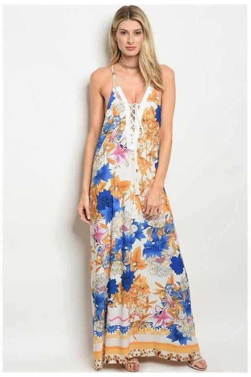 Sleeveless Gold And Blue Maxi Dress