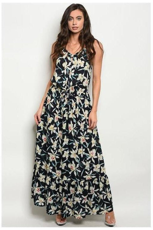 Navy Floral Spaghettic Strap Maxi Dress