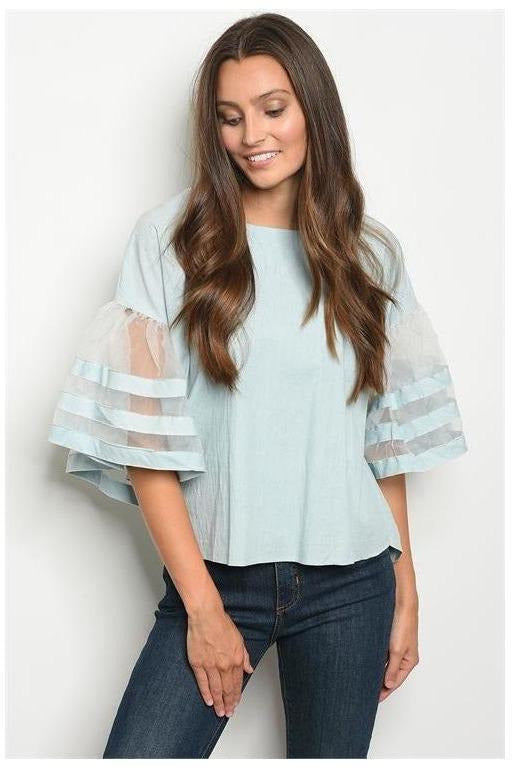 Faded Blue Cotton And Mesh Ruffle Sleeve Top