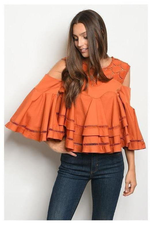 Bell Sleeve Poplin Crochet Top