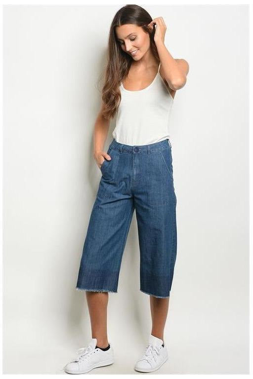 Denim Wide Leg Gaucho Pants - RMC Boutique