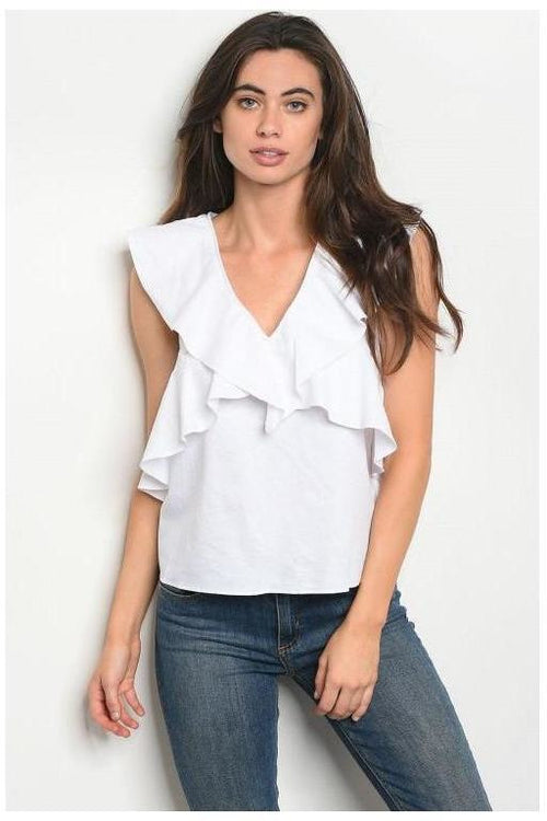 Ruffle Bliss White Cotton Top