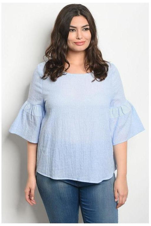 Bell Sleeve Beaut, Plus Size Seer Sucker Top