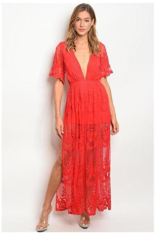 Chloe Maxi Dress, RED
