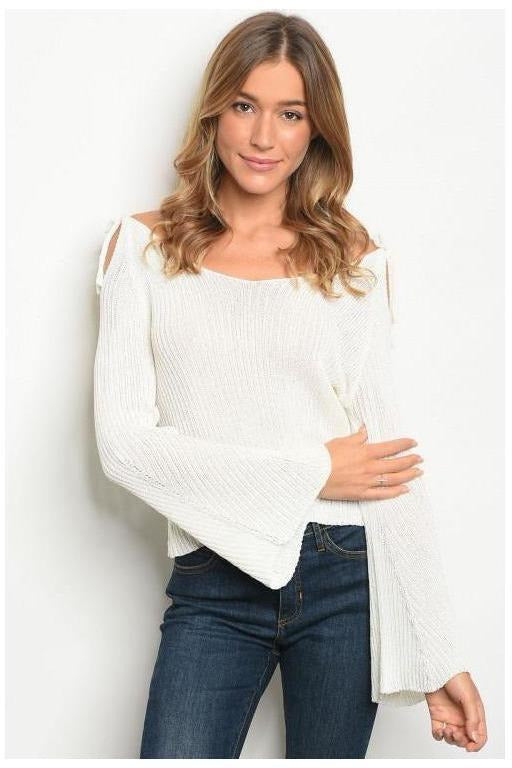 Ribbed Light Weight Bell Sleeve Sweater