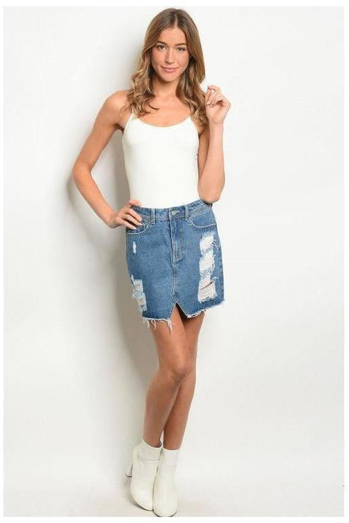 Distressed Denim Skirt - RMC Boutique