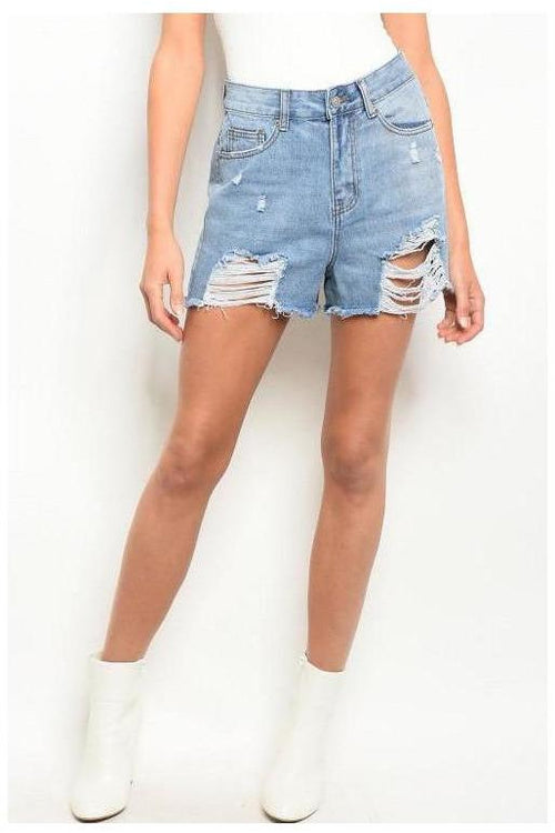 Distressed Mess Denim Jean Shorts