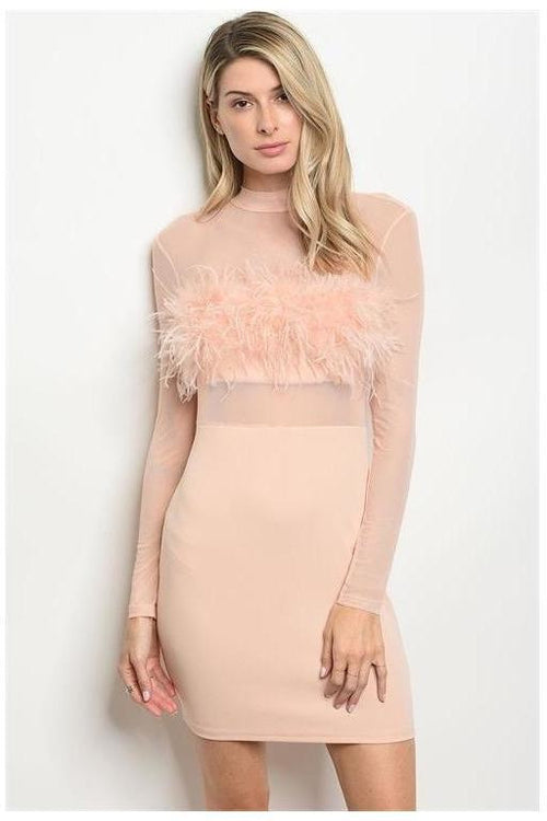 Long Sleeve Feather Detail Bodycon Dress